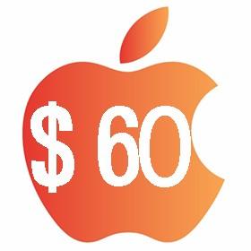 آیتونز گیفت کارت 60 دلاری آمریکا